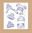 sketch winter hats set vector image vector image