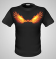 t shirts Black Fire Print man 30 vector image vector image