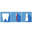 tooth with toothbrush and toothpaste flat design vector image vector image