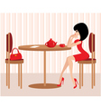 Young woman in cafe vector image