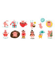 12 cute cartoon pigs representing month vector image vector image