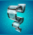 abstract cinema retro poster with film strip roll vector image