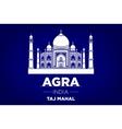 agra Taj Mahal india blue background vector image