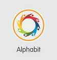 alphabit blockchain cryptocurrency - sign vector image vector image