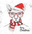 animal sphynx cat dressed in new year hat vector image vector image