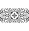 Asian ethnic floral retro doodle black and white vector image vector image