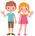 boy and girl in full length welcome vector image vector image