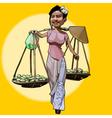 cartoon cheerful Vietnamese woman walks with fruit vector image