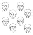 Child face emotion gestures black and white set vector image