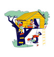 children characters on tree house little girls vector image