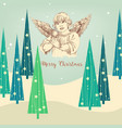 christmas angel greeting card vector image
