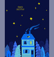 christmas greeting card with house and starry sky vector image