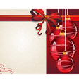 Christmas ornaments with red bow vector image