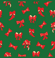 christmas red and green pattern with bows vector image