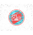cleaning service line icon bucket with mop vector image vector image