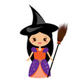 cute halloween witch beautiful girl in halloween vector image