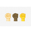 different color hand gesture comic style icon fist vector image vector image
