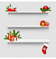 empty shelves with christmas gift box transparent vector image