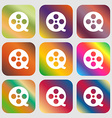 Film icon Nine buttons with bright gradients for vector image vector image