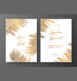 gold wedding invitation with tropical leaves vector image