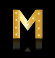 golden letter m shiny symbol vector image vector image