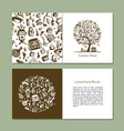 greeting cards with bathhouse design elements vector image