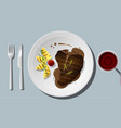 grilled beef t-bone steak with red wine vector image vector image