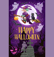 halloween witch with broom ghosts and pumpkins vector image vector image