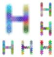 Happy colorful fractal font set - letter H vector image vector image