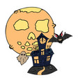 happy halloween color icon moon graveyard vector image