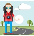Hitchhiking tourism concept Young Hitchhiker vector image vector image