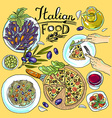 italian food- set of food color hand-draw vector image vector image