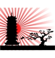 japanese landscape silhouette vector image
