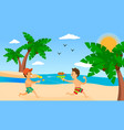 kids playing on beach summer holiday vector image vector image