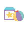 kids toy block and beach ball play icon design vector image