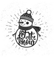 let it snow christmas retro poster with snowman vector image