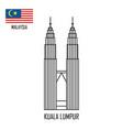 malaysia landmark petronas towers at kuala lumpur vector image vector image