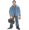 Man with suitcase vector image vector image