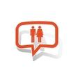 Man woman message sticker orange vector image vector image