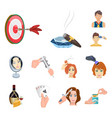 manipulation by hands cartoon icons in set vector image