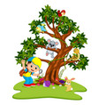 many animals on the trees with boys vector image vector image