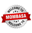 Mombasa 3d silver badge with red ribbon vector image vector image