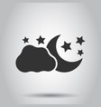 moon and stars with clods icon in flat style vector image vector image