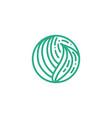 organic plant green leaves logo round bio emblem vector image vector image