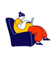 overweight woman sitting in armchair with laptop vector image