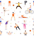 people exercise seamless pattern active man vector image