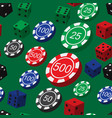 poker chips and dice seamless pattern vector image