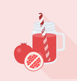 pomegranate juice in mason jar glass vector image vector image