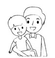 portrait dad carrying her son vector image vector image