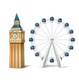 realistic ferris wheel london eye big ben vector image